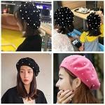 2021 Vintage Beret Hat Pearl Wool Lady Winter Warm Hat Beanies Artist Hat