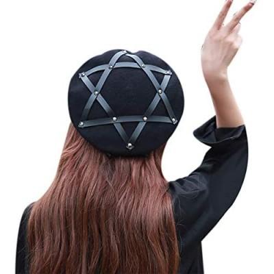 RARITYUS Women Girls Wool French Aritist Beret Hat Fashion Pentagram Cap Adjustable Winter Warm Beanie