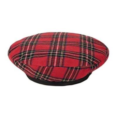 Women Winter Plaid Wool French Beret Hat Tartan Check Artist Painter Hats Beanie Cap Red
