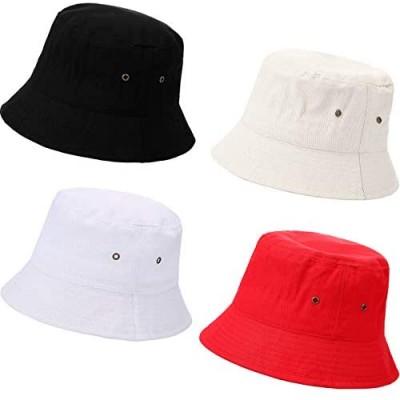 SATINIOR 4 Pieces Bucket Hat Denim Packable Travel Hat Washed Beach Fishing Hat for Men Women Kids (Black  White  Beige  Red  58 cm)