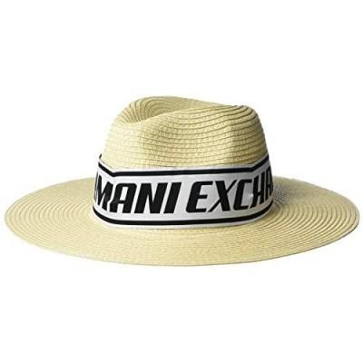 AX Armani Exchange Women's Logo Tape Raffia Summer Hat