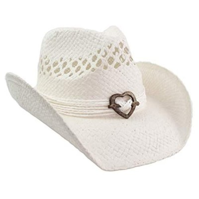 Cute Comfy Flex Fit Woven Beach Cowboy Hat  Western Cowgirl Hat with Wood Heart on Hatband