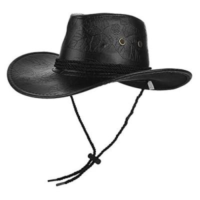 EOZY Men Women Leather Western Cowboy Hat Aussie Outback Down Under Wide Brim Hat with Chin Strap Brown/Black/Red