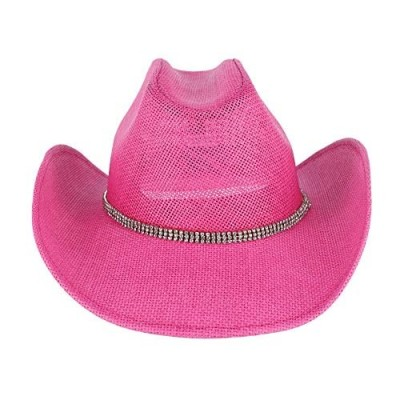 Jacobson Hat Company Women's Pink Toyo Western Cowgirl Hat with Rhinestones