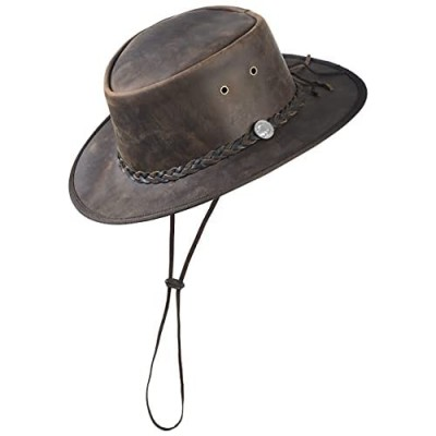 Mara Leather Western Style Distressed Brown HAT Cowboy Outback Real Leather
