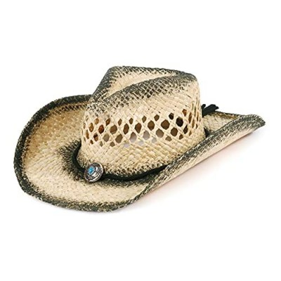 MIX BROWN Woven Straw Cowboy Hat Round Up Western Outback Hat for Men & Women