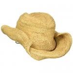 San Diego Hat Company Women's Crocheted Raffia Cowboy Hat Natural One Size