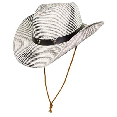 Western Rustic Rodeo Shapeable Straw Cowboy Hat with Chin Strap  Black Hatband with Longhorn Skeletons  White  Large