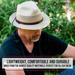 American Hat Makers Tuscany Straw Fedora Hat - Handcrafted UV Sun Protection
