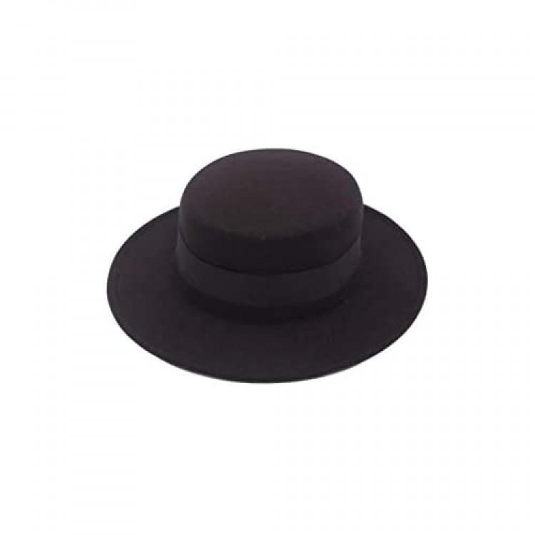 ASTRQLE Classic Black Fashion Fedora Flat Hat Elegant Jazz Hats Brim Church Derby Cap ()