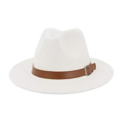 Classic Men & Women Wide Brim Fedora Panama Hat with Belt Buckle