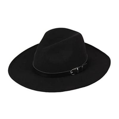 DANTIYA Women's Wide Brim Wool Fedora Panama Hat with Belt