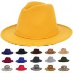 FANA Fedora Hat Women Wide Brim Felt Vintage Classic Panama Hat