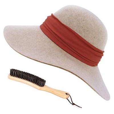 FEMSÉE Fedora Hats for Women with Soft Hat Brush 100% Wool Wide Brim Felt Hat Floppy Sun Hats for Fall Winter