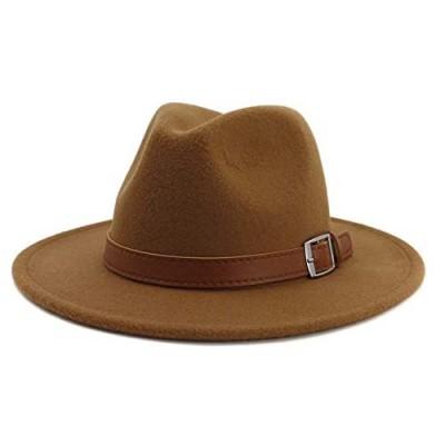 Gossifan Classic Men & Women Wide Brim Fedora Panama Hat with Belt Buckle
