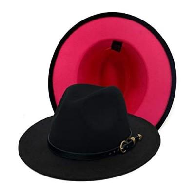 Gossifan Lady Cute Wide Brim Black Panama Hat Two Tone Fedoras