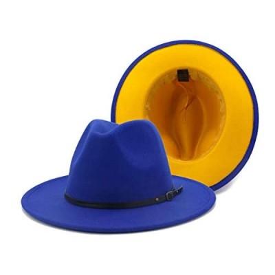 Gossifan Wide Brim Fedora Felt Panama Hat with Belt Buckle