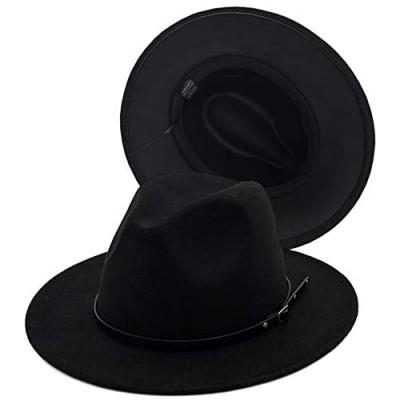 Guoo Women Fedora Hat Wide Brim Felt hat with Belt Buckle Panama Hat Vintage Jazz Hat