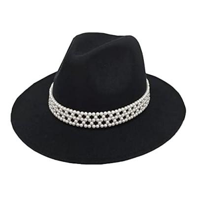 HUDANHUWEI Womens Wide Brim Fedora Hat with Pearl Band Lady Panama Hat