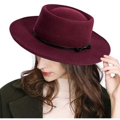 Jeff & Aimy Womens 100% Wool Felt Fedora Hat Wide Brim Floppy/Porkpie Style