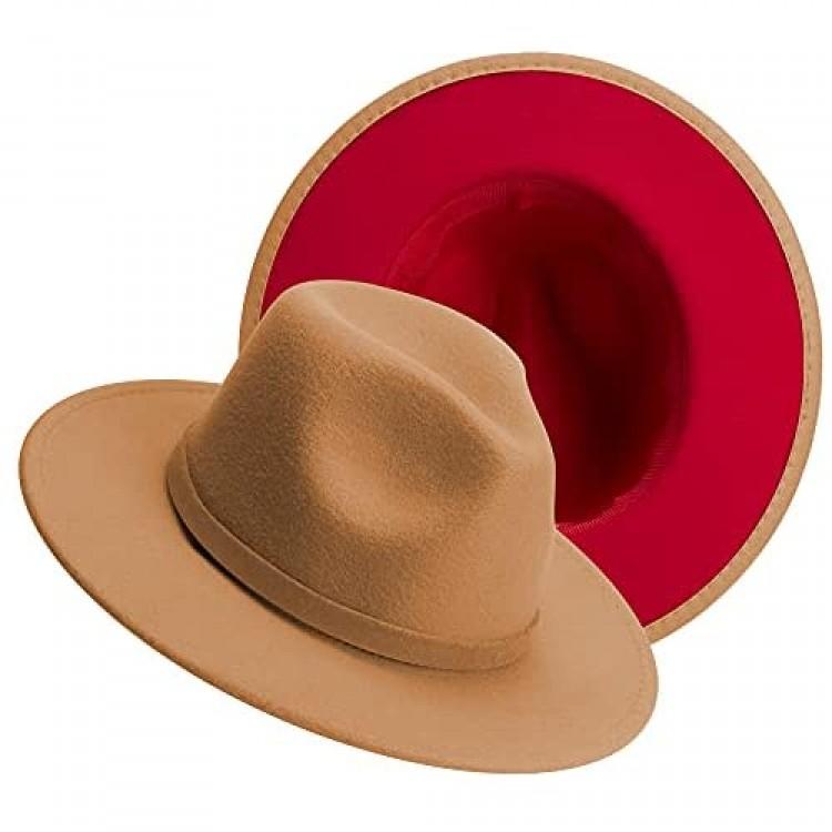KUJUHA Womens Mens Fedora Hats Two Tone Wide Brim Felt Fedora Hats