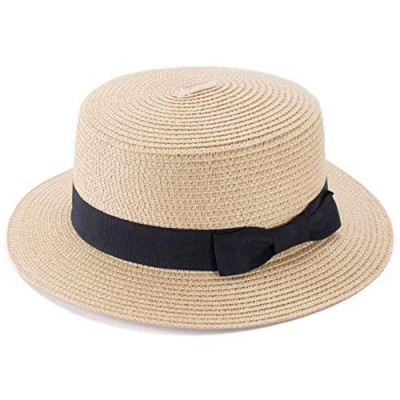 Lawliet Womens Straw Boater Hat Fedora Panama Style Flat Top Ribbon Summer A456