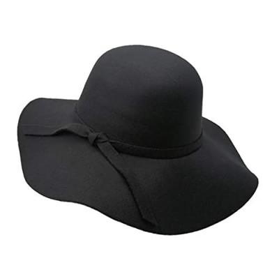 liboyixi Women's Fashion Wide-Brimmed Fedora hat  Ladies Bowknot Wool Felt hat