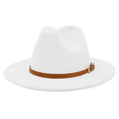 Lisianthus Women White Fedora Wide Brim Panama Hats with Color Belt Buckle