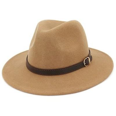 Lisianthus Women's 100% Wool Fedora Panama Hat Wide Brim with Belt