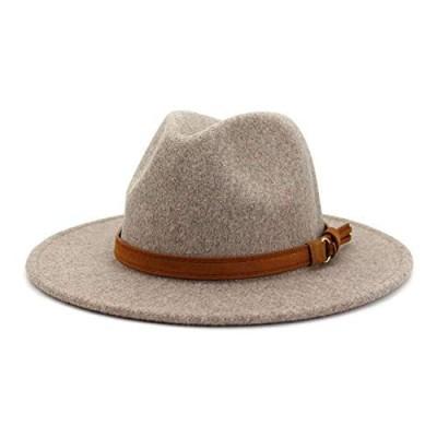 Lisianthus Womens Classic Wool Fedora with Belt Buckle Wide Brim Panama Hat