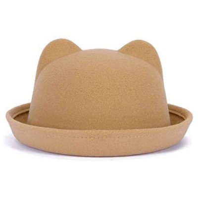 Lujuny Cat Ear Wool Bowler Hats - Cute Derby Fedora Caps with Roll-up Brim for Youth Petite