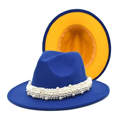 PAODIKUAI Women's Pearl Band Black Fedora Hat Ladies Wide Brim Fedora Hat Panama Hat
