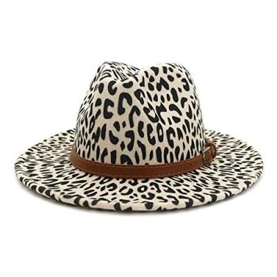 RayRise Unisex Leopard Print Fedora Hat Adjustable Strap Wide Brim Trilby Retro Felt Panama Hat with Belt Buckle