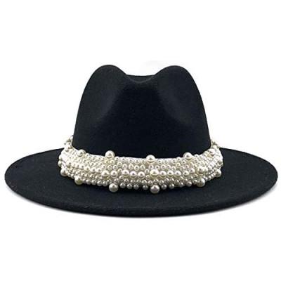 Vintage Black Fedora Hats for Women Fashion Wide Brim Ladies Panama Hat