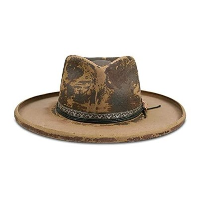 Vintage Fedora Firm Wool Felt Panama Hat Classic for Men Women Wide Brim with Lightning Logo Distressed Style