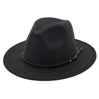 Women's Felt Panama Hats Classic Wide Brim Rancher Fedora with Belt Buckle