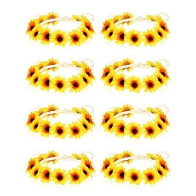 8 Pieces Sunflower Crown Hair Wreath Daisy Flower Headbands Hippie Headbands Adjustable Floral Bridal Headpiece for Hippie Party Wedding Festivals Photo Props