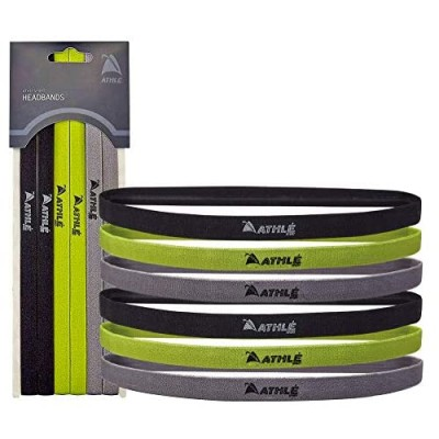 Athlé Skinny Sports Thin Headbands 6 Pack - Men's and Women's Elastic Hair Bands with Non Slip Silicone Grip - Lightweight and Comfortable Sweatbands Keep You Cool and Dry