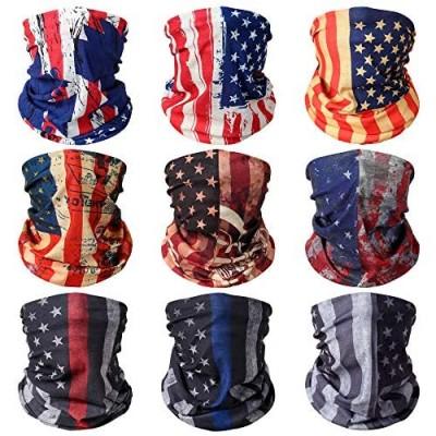 9 Pcs Neck Gaiter Face Mask Dust Wind UV Protection Scarf Sports Headwear Neck Balaclava for Men Women