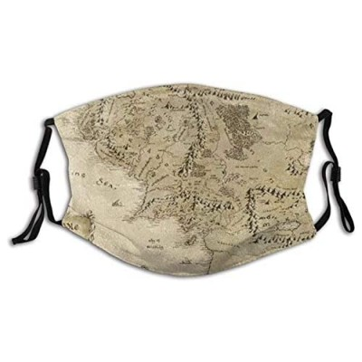 Bandana Cover Lord of The Ring Map of Middle Earth Balaclava Unisex Reusable Windproof Anti-Haze Bandanas Outdoor Camping Motorcycle Running Neck Gaiter with 2 Filters for Teen Men Women