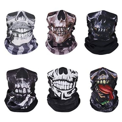 MoKo Face Mask for Cold Weather [6 Pack]  Neck Gaiter Shield Scarf Elastic Seamless Balaclava Headbands Headwear  Windproof Skull Clown Bandana for Men Women for Motorcycle Cycling Riding Skiing Party