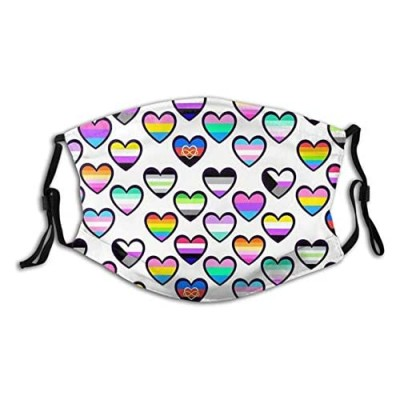 Rainbow Heart Face Mask Unisex Balaclava Mouth Cover With Filter Windproof Dustproof Adjustable