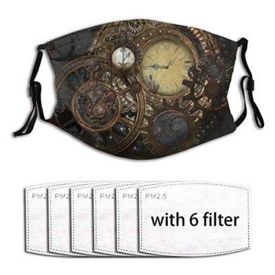 Steampunk Clocks Face Mask with Filter Pocket Washable Reusable Face Bandanas Balaclava with 6 Pcs Filters