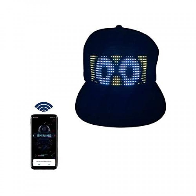 Multi-Language Bluetooth LED Smart Cap Customized Bluetooth Hat Mobile APP Control Editing LED Display Hat Led Lamp Word (Text Music Image Drawing) for Party Club Christmas Halloween Black