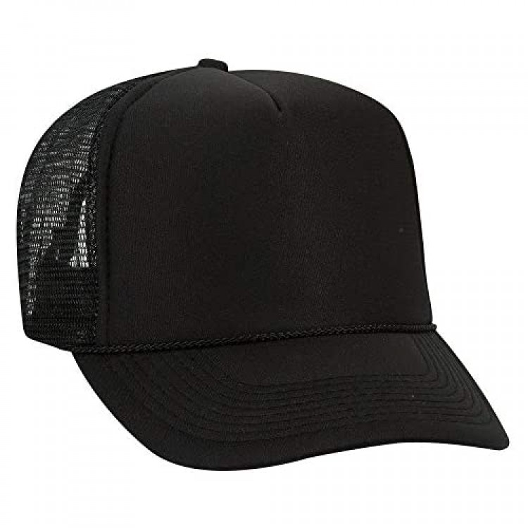 Otto Wholesale 12 x Polyester Foam Front 5 Panel High Crown Mesh Back Trucker Hat - (12 Pcs)