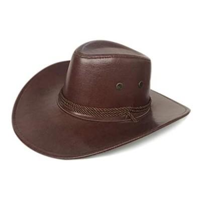 Men Women Faux Leather Western Cowboy Hat Outdoor Cowboy hat Wide Brim Hat with Chin Strap