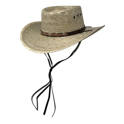 Mens Natural Straw Wide Brim Sun Protection Western Cowboy Gambler Hat with Designer Silver Plate and Brown Leather Band Rustic