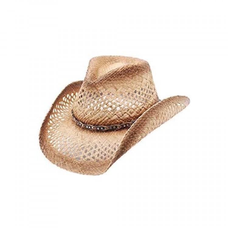 Mesa Raffia Straw Western Cowboy Summer Sun Hat by Silver Canyon Natural
