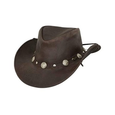 Outback Trading Men's 1376 Rawhide UPF 50 Leather Western Hat with Adjustable Chin Cord