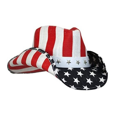 Peter Grimm Unisex Cowboy Hat (Red White & Blue  One Size)